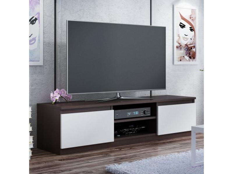 meuble tv banc tv clino 140 cm effet wenge blanc style contemporain