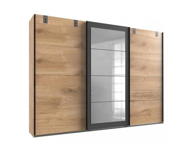 armoire coulissante vernon style industriel 2 portes chene 1 porte miroir