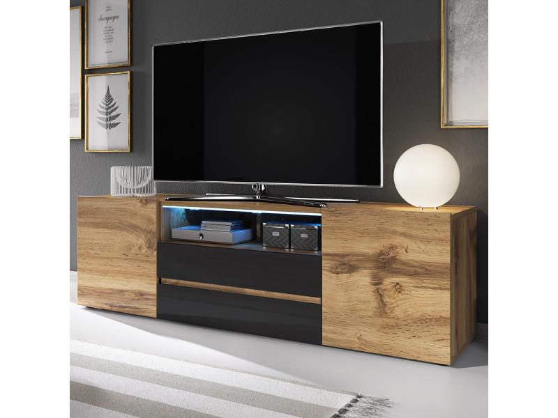 meuble tv bros 140 cm chene wotan noir brillant avec led