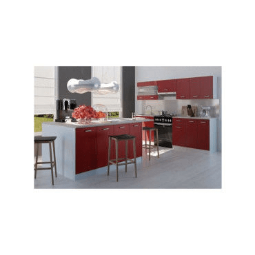 ultra ilot central l 200 cm avec plan de travail rouge mat w99576640