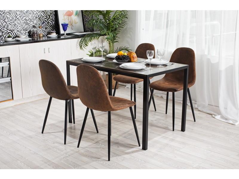 ensemble repas marron 4 places table