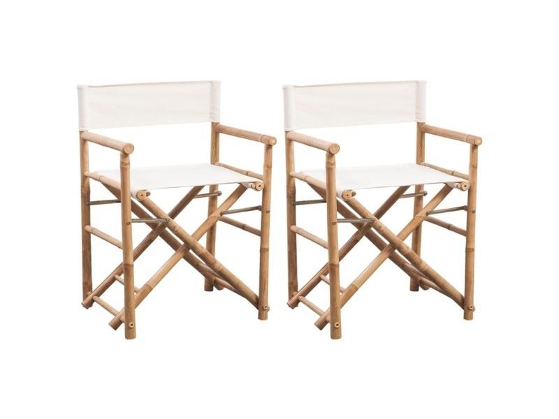 contemporain fauteuils serie brasilia chaise pliable 2 pcs bambou et toile