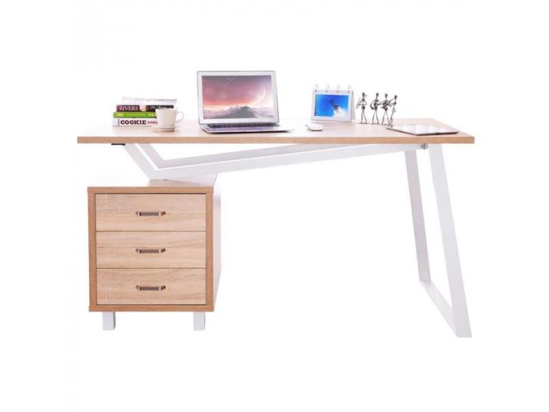 bureau informatique design avec tiroirs de rangement couleur chene