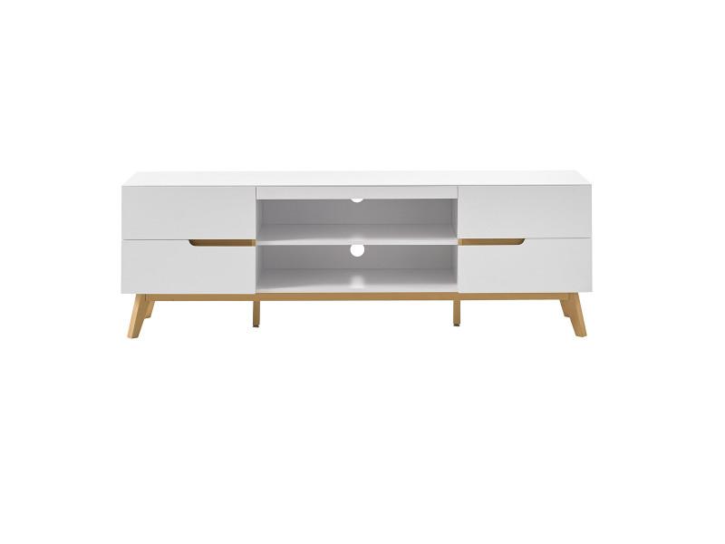 meuble tv scandinave blanc mat et chene skive