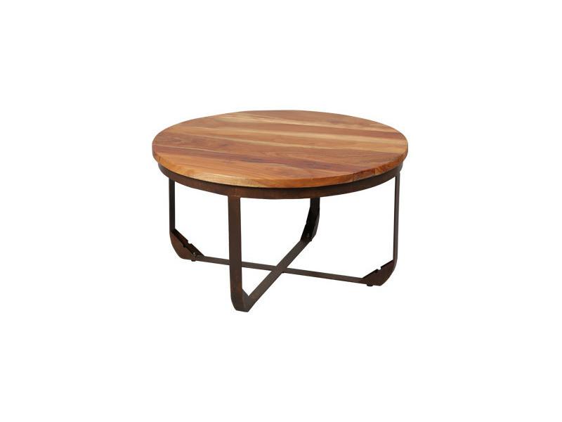 table ronde structure metal plateau bois
