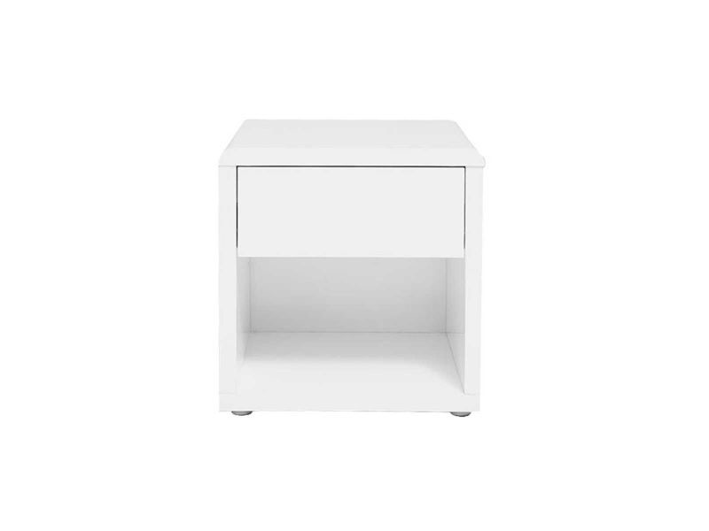 table de chevet design laquee blanche elio