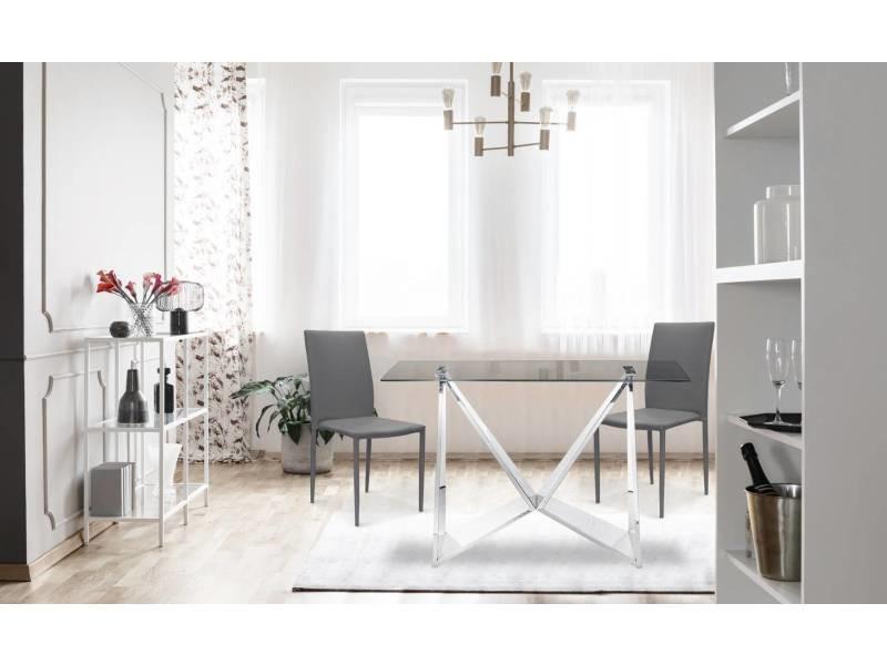 lot de 6 chaises empilables modan pu gris