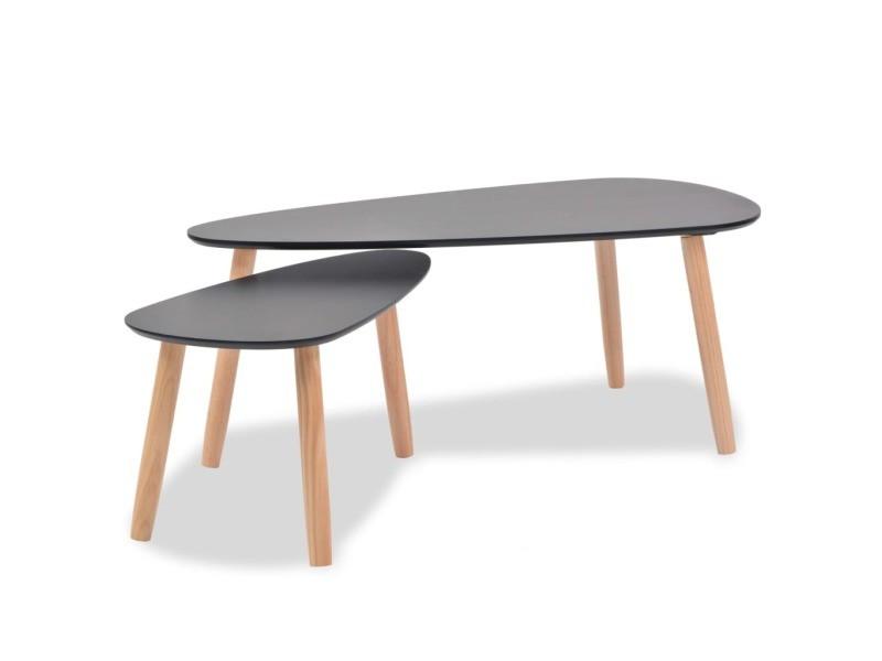 vidaxl ensemble de tables basses 2 pcs bois pin massif noir 244732 vente de vidaxl conforama