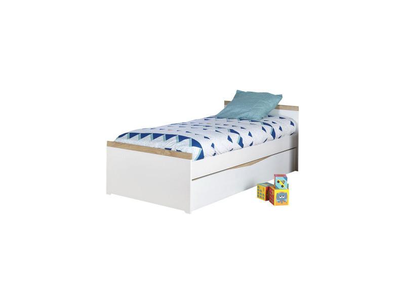 blanc et bois 90x190 cm lit gigogne