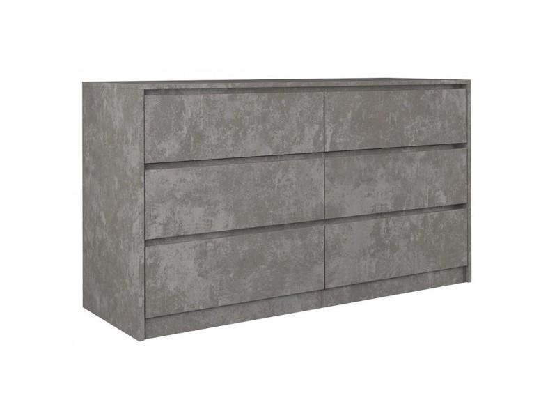 iris 140 commode moderne chambre bureau salon 138x75x40 meuble de rangement 6 tiroirs chiffonier finition effet beton beton