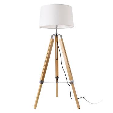 lampadaire design lampe a pied trepied avec pieds en bois et metal abat jour en tissu e27 hauteur 145 cm bois clair chrome blanc lux pro d97817874