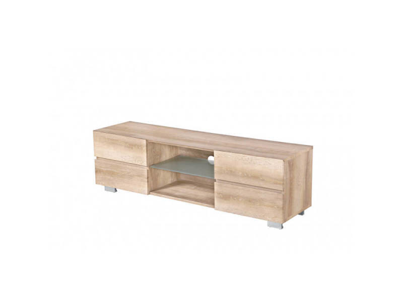 meuble tv contemporain en bois coloris chene clair benoit