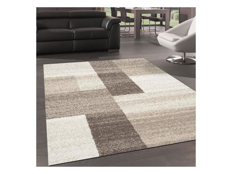 tapis design et moderne 160x230 cm rectangulaire culham beige salon adapte au chauffage par le sol