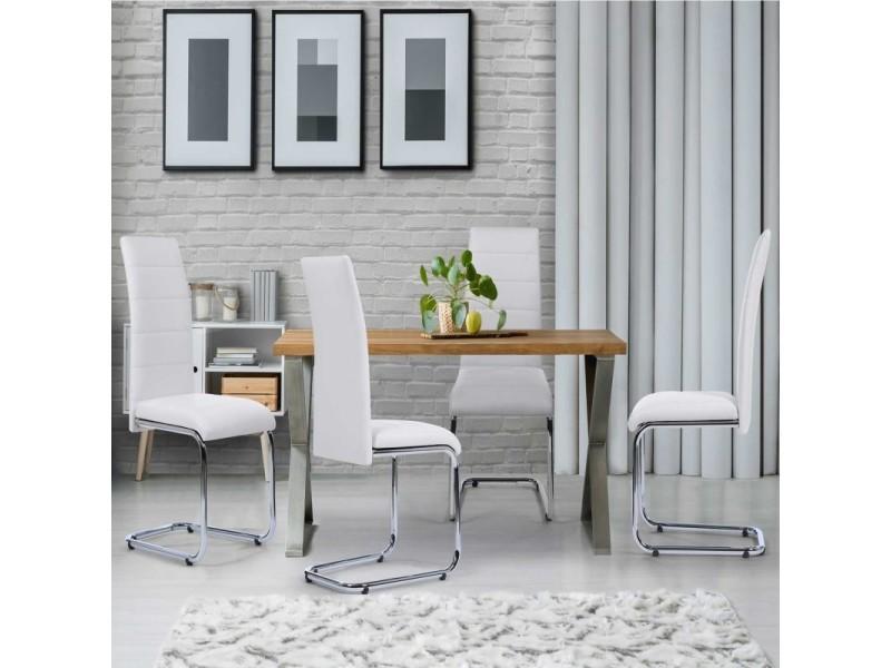 lot de 4 chaises mia blanches pour salle a manger