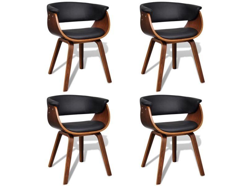 contemporain fauteuils edition accra chaise de salle a manger 4 pcs cadre en bois cuir synthetique