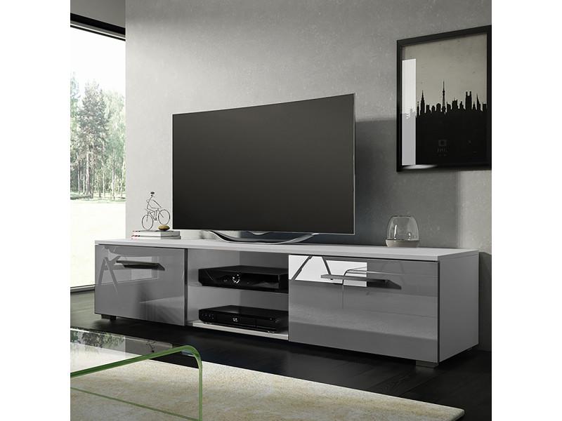 meuble tv banc tv tenus 140 cm blanc mat gris brillant sans led