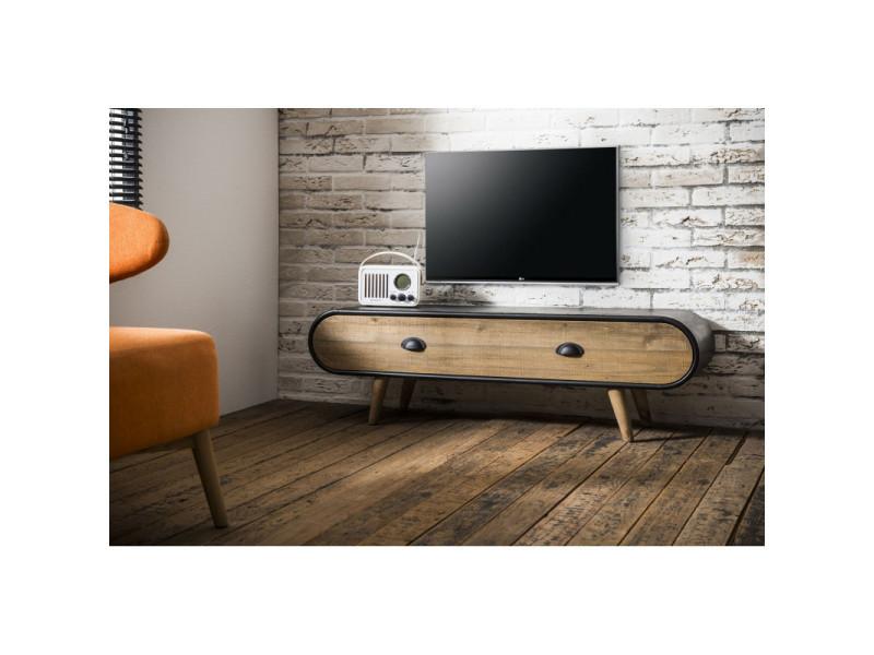 meuble tv scandinave en bois et metal noir germain