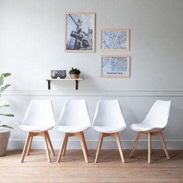 lot de 4 chaises scandinaves nora blanches avec coussin v81983477