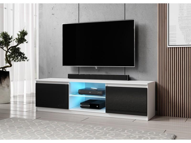 furnix meuble tv banc tv arenal 160 cm noir blanc brillant avec led