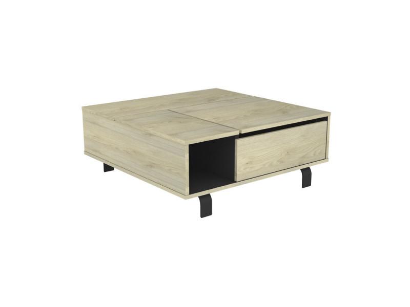 table basse carree relevable chene clair noir mat forest l 90 x l 90 x h 37 neuf