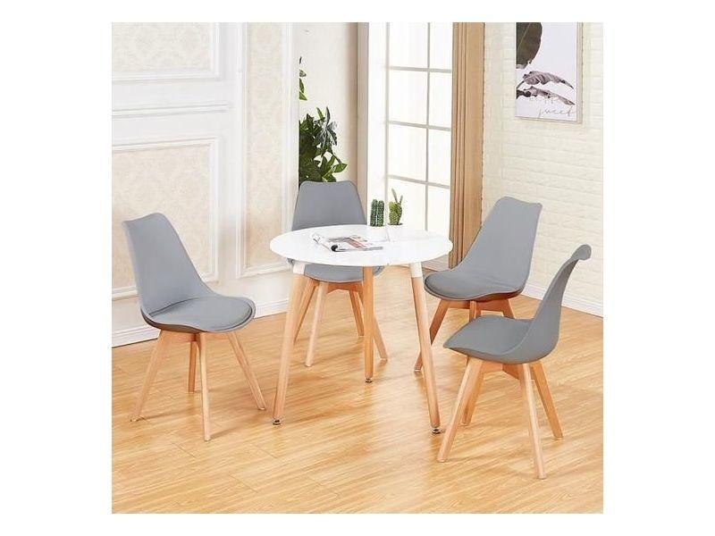 table a manger ronde de 2 a 4 personnes blanc scandinave en bois hetre massif 4 gris chaises scandinaves 54 54 82cm
