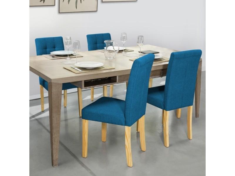 lot de 4 chaises polga capitonnees bleu canard pour salle a manger