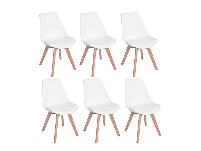 lot de 6 chaises design contemporain nordique scandinave tulipe chaises pieds en bois de hetre massif blanc