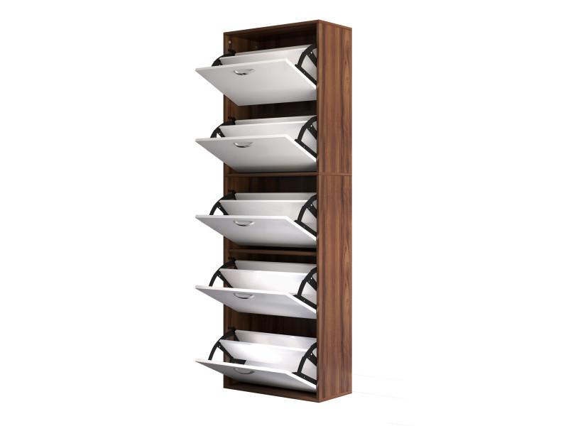 armoire a chaussures meuble a chaussures design contemporain 5 portes abattantes bicolore blanc marron fonce imitation bois