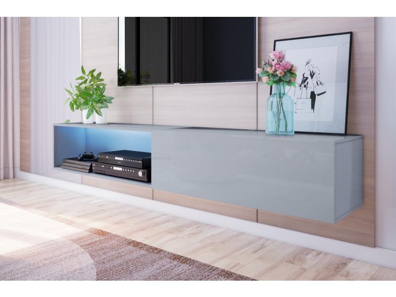 meuble tv suspendu larka 200 cm gris led