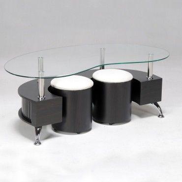 table basse omega 2 poufs wenge f74855559