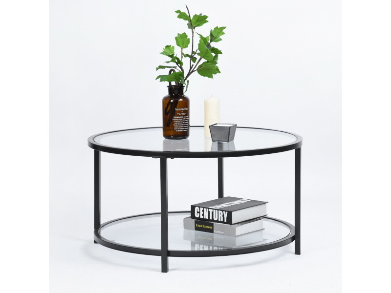 table basse ronde 2 couches verre metal noir
