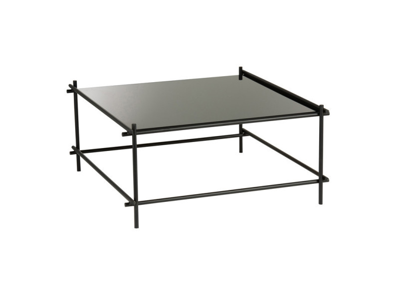 table basse carree metal verre noir