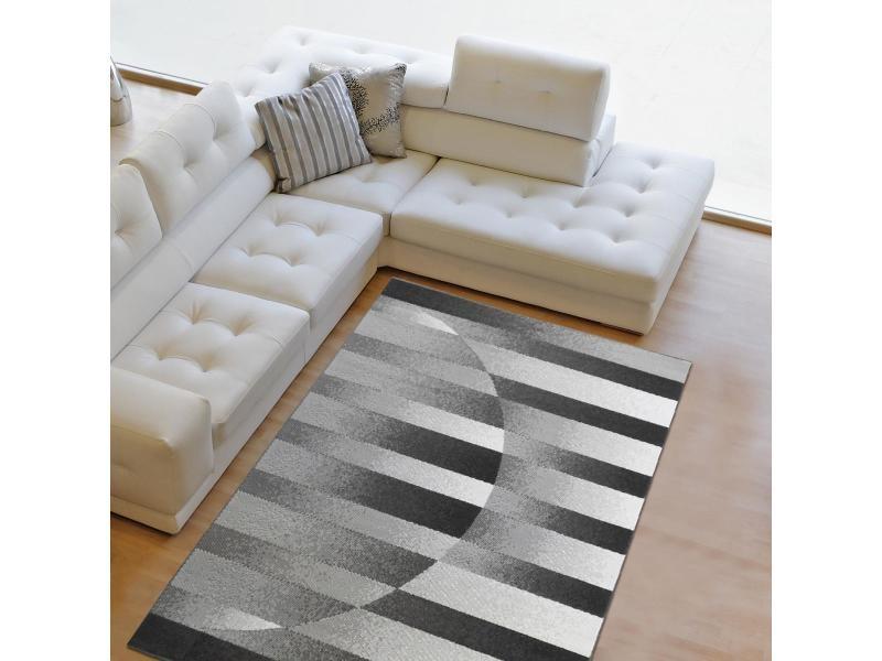 tapis moderne 60x110 cm rectangulaire diapo gris entree adapte au chauffage par le sol