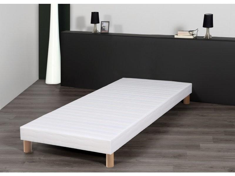 sommier 90x200 cm tapissier blanc pieds inclus