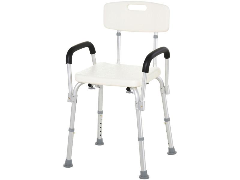 chaise de douche siege de douche ergonomique hauteur reglable pieds antiderapants dossier accoudoirs amovibles charge max 136 kg alu hdpe blanc