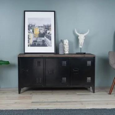 meuble tv industriel bois et metal 3 portes noir j66009228