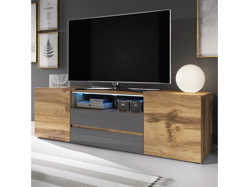 meuble tv bros 140 cm chene wotan gris brillant avec led