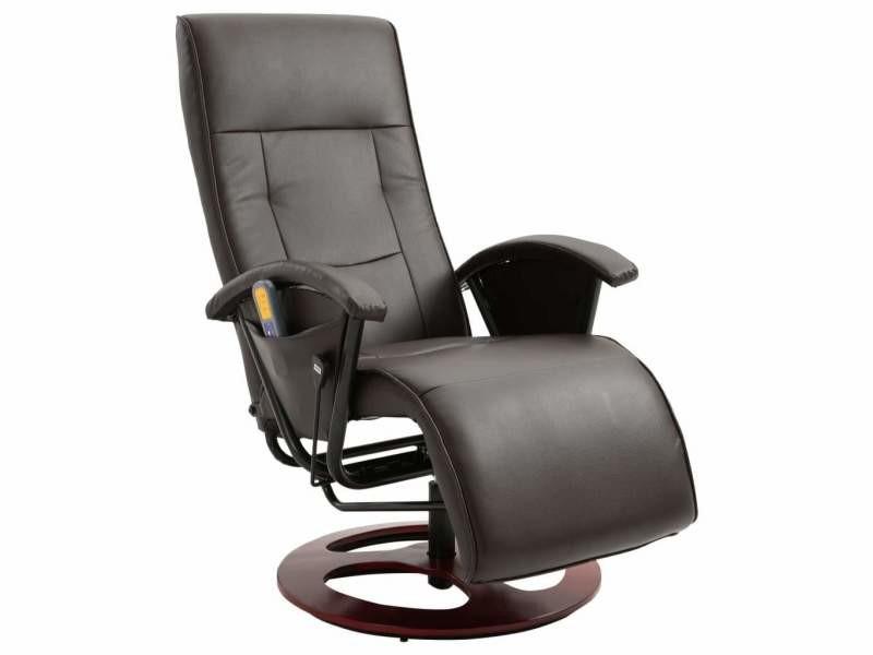 Fauteuil De Massage Confort Relaxant Massant Detente Marron Similicuir Helloshop26 1702048 Vente De Helloshop 26 Conforama