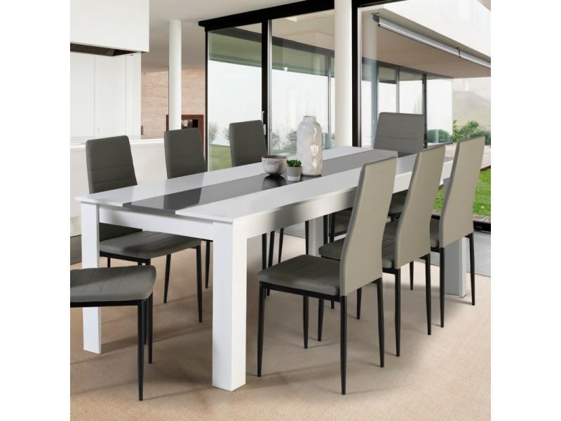 table a manger georgia 8 personnes blanche et grise 160 cm