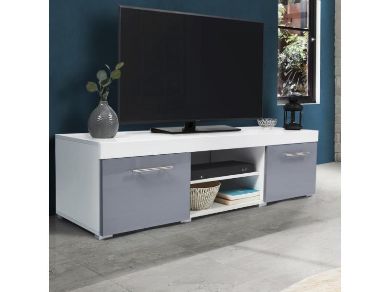 meuble tv blanc gris laque