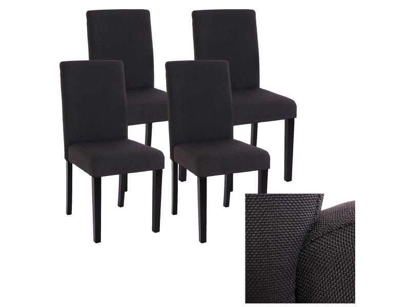 lot de 4 chaises de sejour littau tissu noir gris pieds fonces