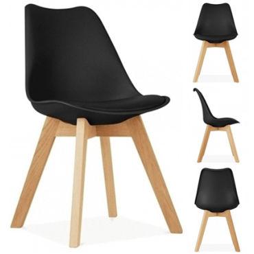 lot de 4 chaises scandinaves noir