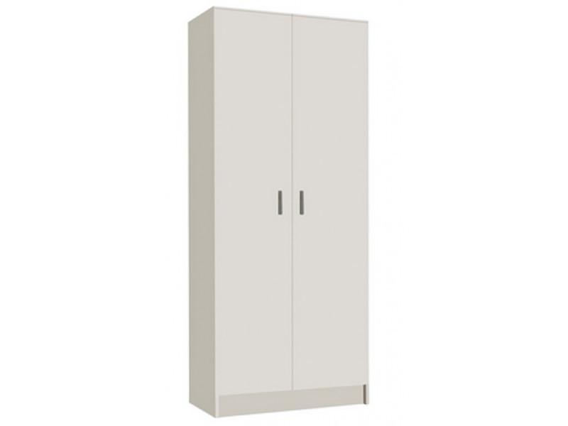 armoire rangement nettoyage 2 portes en melamine coloris blanc dim h180 x l73 x p37 cm pegane