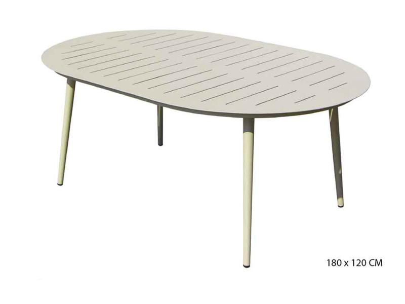 table ovale en aluminium coloris sable 180 x 120 cm pegane