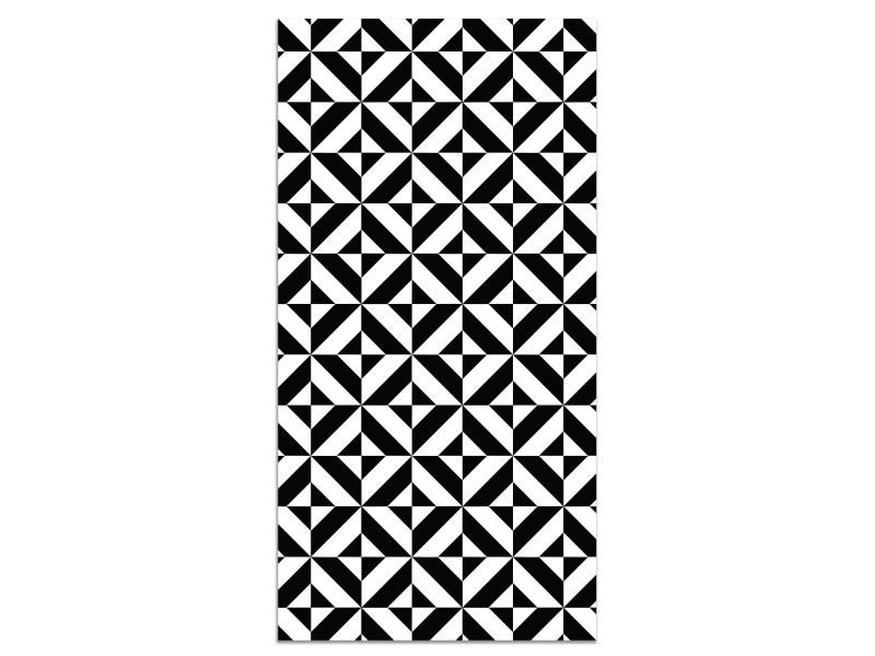 panorama tapis du sol vinyle geometrie noir 160x230cm tapis de cuisine en pvc linoleum vinyle antiderapant lavable ignifuge tapis pour cuisine