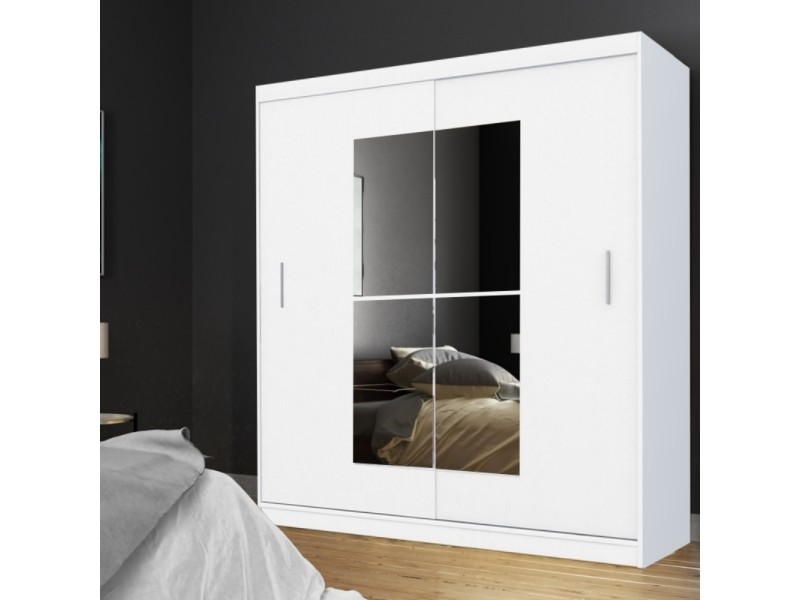 armoire avec miroir vaniva 180 cm blanc portes coulissantes