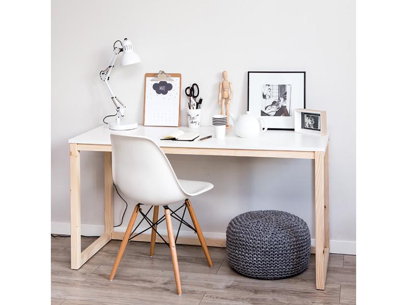 bureau scandinavia 120 cm blanc bois de pin