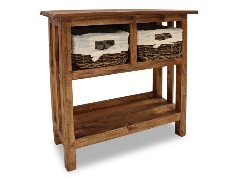 vidaxl table console bois de recuperation massif 69 x 28 70 cm