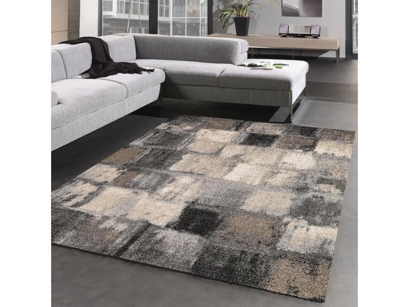 tapis salon moderne et design carreaulegant 01 gris beige noir 80 x 150 cm