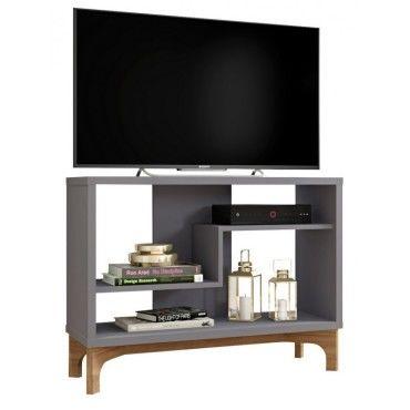 meuble tv 90 cm gris et chene design